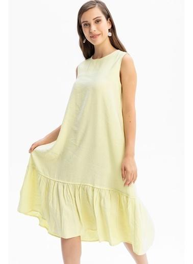 Tiffany&Tomato Etek Ucu Fırfırlı Keten Uzun Elbise Sarı